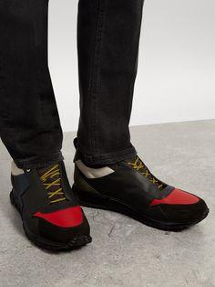 79438d11f5d FENDI Lightning-bolt appliqué leather trainers €620 Baskets En Cuir