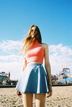 bryant: Hannah for American Apparel. Chambray Skirt, Summer Outfits, Cute Outfits, Fashion Outfits, Womens Fashion, How To Look Pretty, American Apparel, Dress To Impress, Fashion Beauty