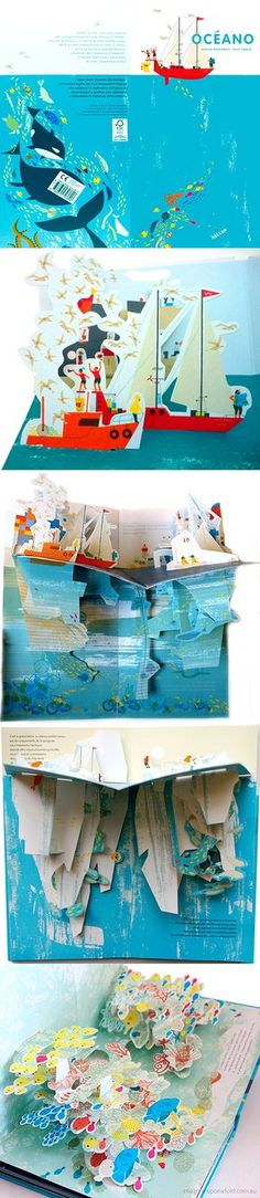 OCEANO POP-UP BOOK  |  by Anouck Boisrobert and Louis Rigaud;  London: Tate Publishing, 2013  |  Under the Ocean follows the voyage of Oceano, a red sailing boat, from port to a tropical lagoon, through temperate seas, the great white Arctic and an oceanic storm. Each pop-up page plays on the idea of the sea surface as a border to be crossed, showing the two worlds 'above' and 'below' the water.