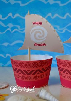 Moana cupcake topper sails and wrappers for birthday party