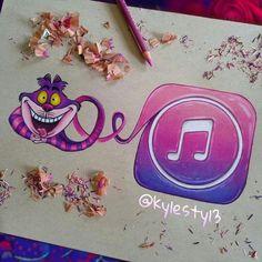 Chesire Cat and iTunes Music Social Media Mash Up Drawing App Drawings, Disney Drawings, Cool Drawings, Arte Disney, Disney Art, Social Media Art, Chesire Cat, Apps, Beautiful Drawings