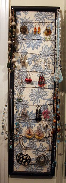 DIY Jewelry Organizer~ like the fabric backing idea and earring holder is different concept too