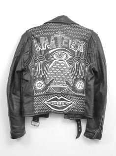 painter leather biker jacket typography lettering hand lettering