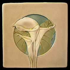 Ceramic tile, Calla Lily, 4x4 inches, deco tile, home decor, handmade tile - fireplace