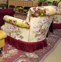 love the rose fabric on this chair