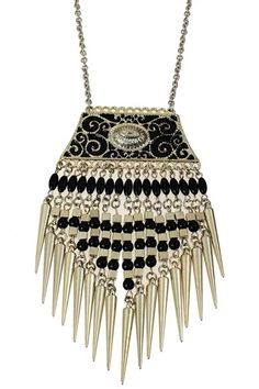 Bohemian Style Silver Spike Tassel Necklace