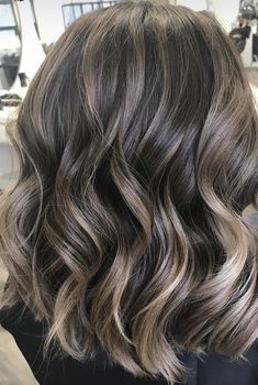 My hair done by DVCOLOUR. Brunette Balayage by DVColour on Instagram. Short hair. Highlights. Beachy waves.