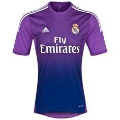 Camiseta de futbol Real Madrid Portero Equipación Adidas 2013 2014 Púrpura Manga Corta