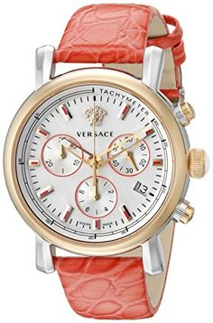 Versace Women's VLB120015 Day Glam Chrono Analog Display Swiss Quartz Red Watch -- Check out the image by visiting the link.