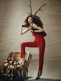"""Red Christmas"": Kyung Ah Song in Vogue Korea December 2012"