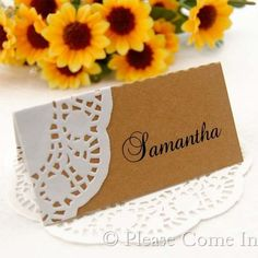 DIY Personalized Doily Kraft Place Card for Rustic Hessian Wedding/Party