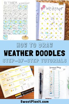Create weather icons for your planner or bullet journal! Learn how to draw weather doodles with step-by-step videos as well as lots of bujo inspiration. Bullet Journal Font, Bullet Journal Ideas Pages, Bullet Journals, Kawaii Doodles, Cute Doodles, Billie Eilish, Year In Pixels, Planner Doodles, Printable Planner Stickers