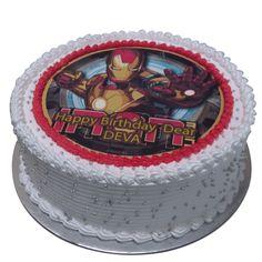 Ironman photo cake for a big for of Ironman. Iron Man Photos, Ironman Cake, Cartoon Cakes, Cake Online, Popular Movies, First Birthdays, First Love, Big, Prints
