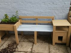 Planter cat box and bench made from reclaimed wood
