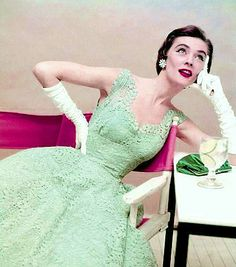1950s mint green cocktail dress