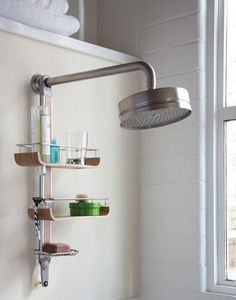 10 Ways to Customize a Rental Bathroom.  For the next apartment, mainly just looking at the ideas of freestanding furniture (like a garden stool), Simply Human shower caddies, distinctive towel hooks, and really nice towels.  I think we'll need to start splurging on towels when we move to the new place.  We have a nice set, just need to get more bath towels (bath sheet size would be nice)
