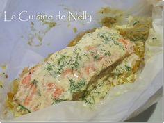 Saumon en papillote, Fondue de poireau, Cr�me de soja au curry et aneth