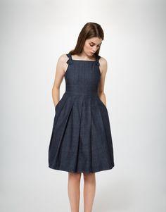 Lightweight Denim Bow Dress (indigo)