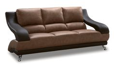 Amazon.com - Global Furniture Wyatt Collection Leather Matching Sofa, 982, Brown and Dark Brown - Leather Sofa Sets For Living Room
