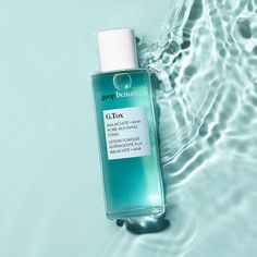 A pore-refining tonic that clears and softens the skin's appearance. Made with hydrating hyaluronic acid, detoxifying malachite clay, and a brightening blend of glycolic, phytic, and fruit acids, this daily toning treatment eases the appearance of congestion and imparts a visible radiance. Lotion Tonique, Clear Pores, Clear Skin, Foto Pose, Clean Beauty, Natural Beauty, Organic Beauty, Malachite, Skin Care Tips
