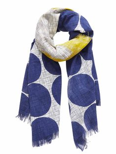 Inuitoosh Patcino Scarf - Blue Dots with Yellow Patch Blue Dots, Blue Yellow, Adventure Outfit, Summer Scarves, Patches, Seasons, Stitch, Cotton, Clothes