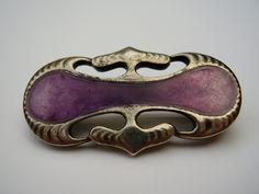 Antique German Jugendstil Arts Crafts Art Nouveau Theodor Fahrner Murrle Bennett MB & Co Max J Gradl 950 Silver Enamel Brooch Ginkgo Gingko