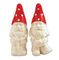 Retro Style Garden Gnome Salt & Pepper Shaker Set Ceramic Collectibles Made of ceramic. Hand wash only. Rubber stoppers on the bottoms for easy filling. Made of food safe materials. Salt And Pepper Restaurant, Tabletop Accessories, Salt And Pepper Set, Gnome Garden, Home And Deco, Hand Painted Ceramics, Salt Pepper Shakers, Retro Fashion, Stuffed Peppers