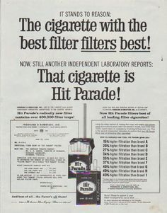 """Description: 1958 HIT PARADE CIGARETTES vintage magazine advertisement """"It Stands To Reason"""" -- It Stands To Reason: The cigarette with the best filter filters best! Now, still another independent laboratory reports: That cigarette is Hit Parade! -- Size: The dimensions of the full-page advertisement are approximately 10.5 inches x 13.5 inches (26.75 cm x 34.25 cm). Condition: This original vintage full-page advertisement is in Excellent Condition unless otherwise noted."""