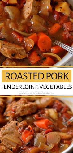 This Roasted Pork Tenderloin and Vegetables is an easy Thanksgiving meal idea that cooks up so tender in a little over an hour! It combines browned pork tenderloin with onions, potatoes, carrots, tomatoes, and a perfect blend of common pantry spices in an Pork Roast Recipes, Pork Tenderloin Recipes, Meat Recipes, Pork Tenderloin Dutch Oven, Game Recipes, Beef Tenderloin, Slow Cooked Pork, Baked Pork, Easy Thanksgiving Recipes