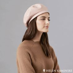The Kamila Beret by Helen Kaminski is a chic beret crafted from leather. It features a beautiful floral-motif stitch pattern on the top of the beret. Edgy and chic, the Kamila Beret is the perfect feminine accessory. Helen Kaminski, Leather Material, Floral Motif, Beret, Stitch Patterns, Feminine, Chic, Fabric, Top