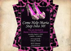 Leopard Print Stiletto High Heel Shoes Birthday Invitation - Custom Color and Wording