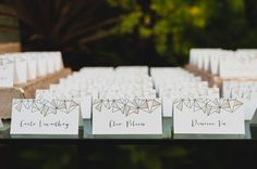 modern geometric seating chart cards - photo by Chaz Cruz Photography
