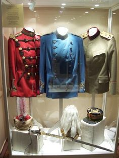 Regimental Uniforms belonging to Tsar Nicholas II. (Rosiori Hussars, Mounted Gendarmeri, Serbian officer)