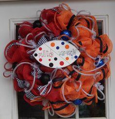 Football House Divided Mesh Wreath Alabama Auburn. $65.00, via Etsy.
