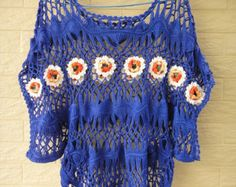 Gypsy Boho Crochet Lace Blouse Short Sleeve by TinaCrochet2016