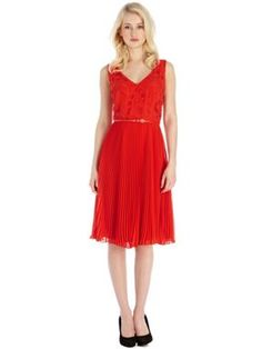 Oasis Emma cutwork pleat midi dress Red - House of Fraser