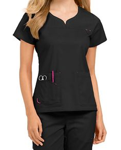 Med Couture Lexi Notch Neck Scrub Tops - Black/Raspberry - Treat yourself to the… Scrubs Outfit, Scrubs Uniform, Beauty Uniforms, Work Uniforms, Uniform Design, Medical Scrubs, Nursing Clothes, Blazer Fashion, Scrub Tops