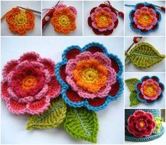 Triple Layer Crochet Flowers for Little Girls  Cloche hat
