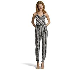 Wyatt Black and grey tribal printed sleeveless jumpsuit ($79) ❤ liked on Polyvore featuring jumpsuits, jumpsuits & rompers, tribal print jumpsuit, tribal jumpsuit, patterned jumpsuit and jump suit