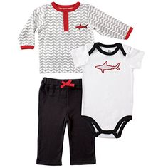Yoga Sprout Long Sleeve Tee Top, Pants, and Bodysuit Set, Shark, 0-3 Months Yoga Sprout http://www.amazon.com/dp/B010C1Q4GA/ref=cm_sw_r_pi_dp_-evJvb1K13319