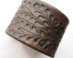 Leather Wristband Bracelet w Little Red Flowers by aosLeather