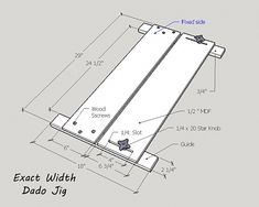 Any one have plans for a simple exact width dado jig to be used with Bosch 1617 plunge base router? Router Sled, Diy Router, Using A Router, Router Jig, Router Woodworking, Woodworking Crafts, Router Table, Woodworking Techniques, Woodworking Furniture