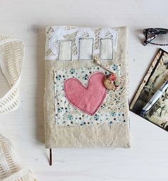 Diary agenda 2018 | pink hand dyed heart | Diary 2018 | agenda 2018 | antique hemp | pink heart | roxy creations | cute journal diary | blank diary for her | unique gifts | 2018 daily journal | gifts for her | handmade gifts | a5 notebook size | daily planner 2018