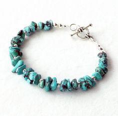 Turquoise Silver Bracelet Southwest Native by connectionsbymaya, $22.00