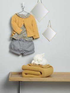 Silhouette Baby-Cardigan, A-Linie + Baby-Bluse, Liberty-Stoff + Baby-Shorts, Flanell + Baby-Plaid + Spiegel im 2er-Set, rautenförmig -