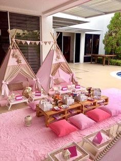 IMAGE GALLERY IMAGE GALLERY Camping has reinvented itself and is now more appealing to even probably the most glamorous, high-class p. Birthday Sleepover Ideas, Kids Spa Party, Sleepover Birthday Parties, Girl Sleepover, Pamper Party, Birthday Party For Teens, Paris Birthday, Bachelorette Parties, Girl Birthday