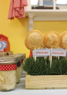 Pie pops.super cute with the grass stand : )