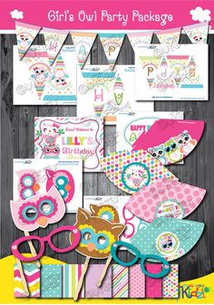 Girl's Adorable Owl Birthday party pickage owl by ItsAllAboutKidz