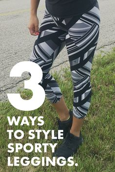 3 ways to style sporty, striped leggings. Athleisure is here to stay and SweetLegs Independent Distributor Blair is on the blog to show us three different looks featuring our Outbound print leggings and how to style. Whether you're petite, one size, or plus- sporty, girly, or classic- we've got a look for you! These grey, black, and white leggings are bold and ready to pair with so many different outfits! Leggings Style, White Leggings, Striped Leggings, Print Leggings, Leggings Fashion, Independent Distributor, Athleisure, Girly, Sporty