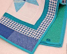 """Купить Детское лоскутное одеяло """"Морское"""" плед детский покрывало - одеяло, детское одеяло"""
